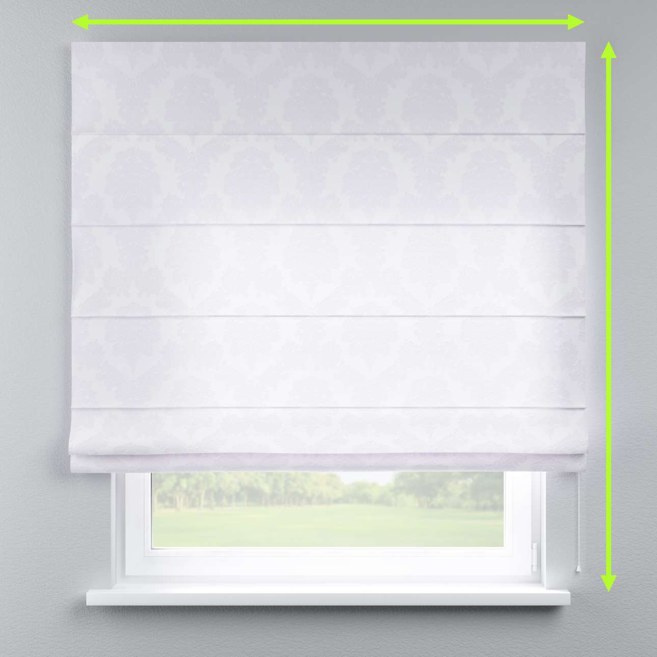 Lined roman blind in collection Damasco, fabric: 613-00