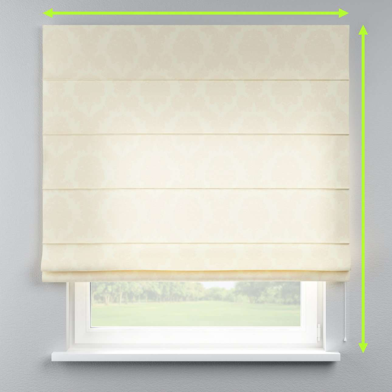 Lined roman blind in collection Damasco, fabric: 613-01