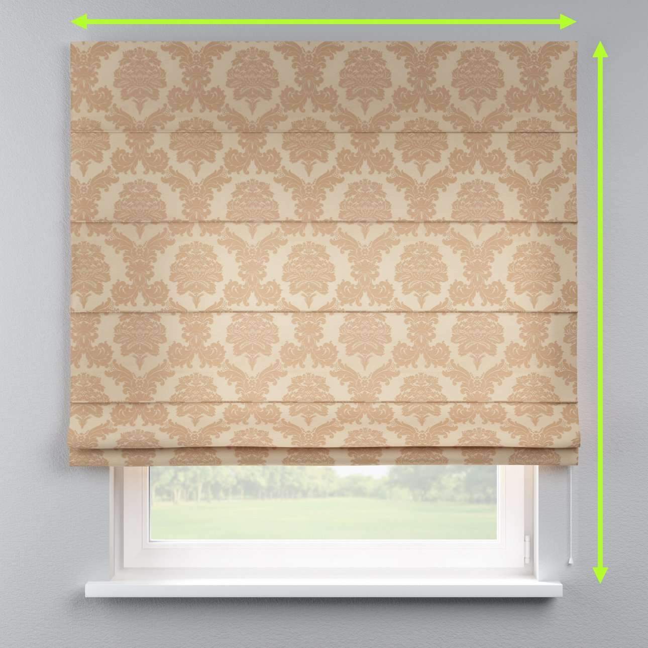 Lined roman blind in collection Damasco, fabric: 613-04