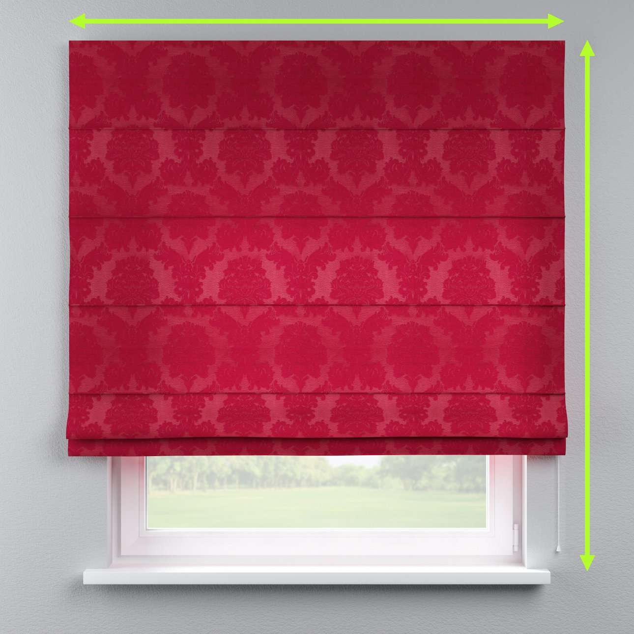 Lined roman blind in collection Damasco, fabric: 613-13