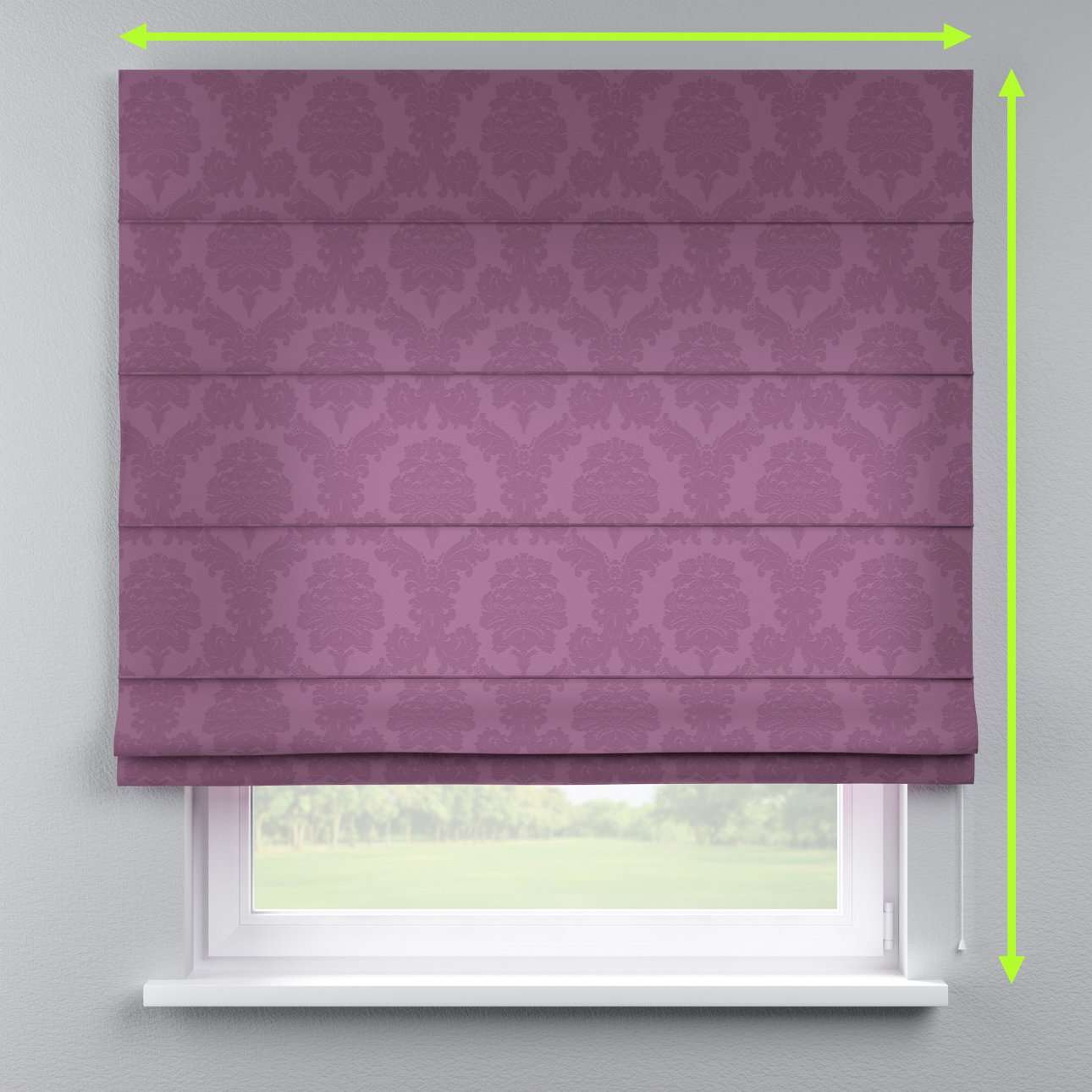 Lined roman blind in collection Damasco, fabric: 613-75