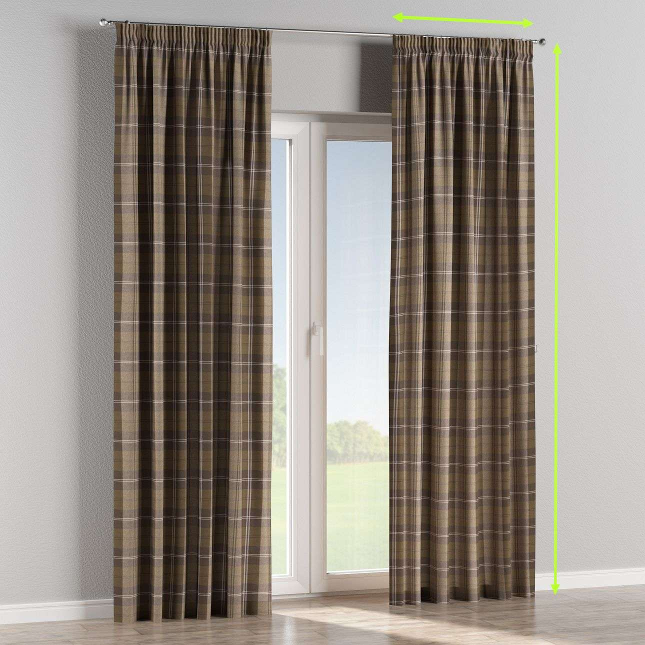 Pencil pleat lined curtains in collection Edinburgh, fabric: 115-76