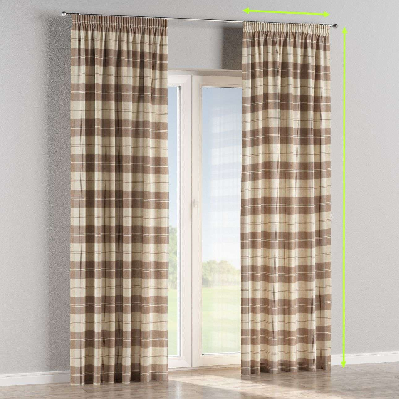 Pencil pleat lined curtains in collection Edinburgh, fabric: 115-80