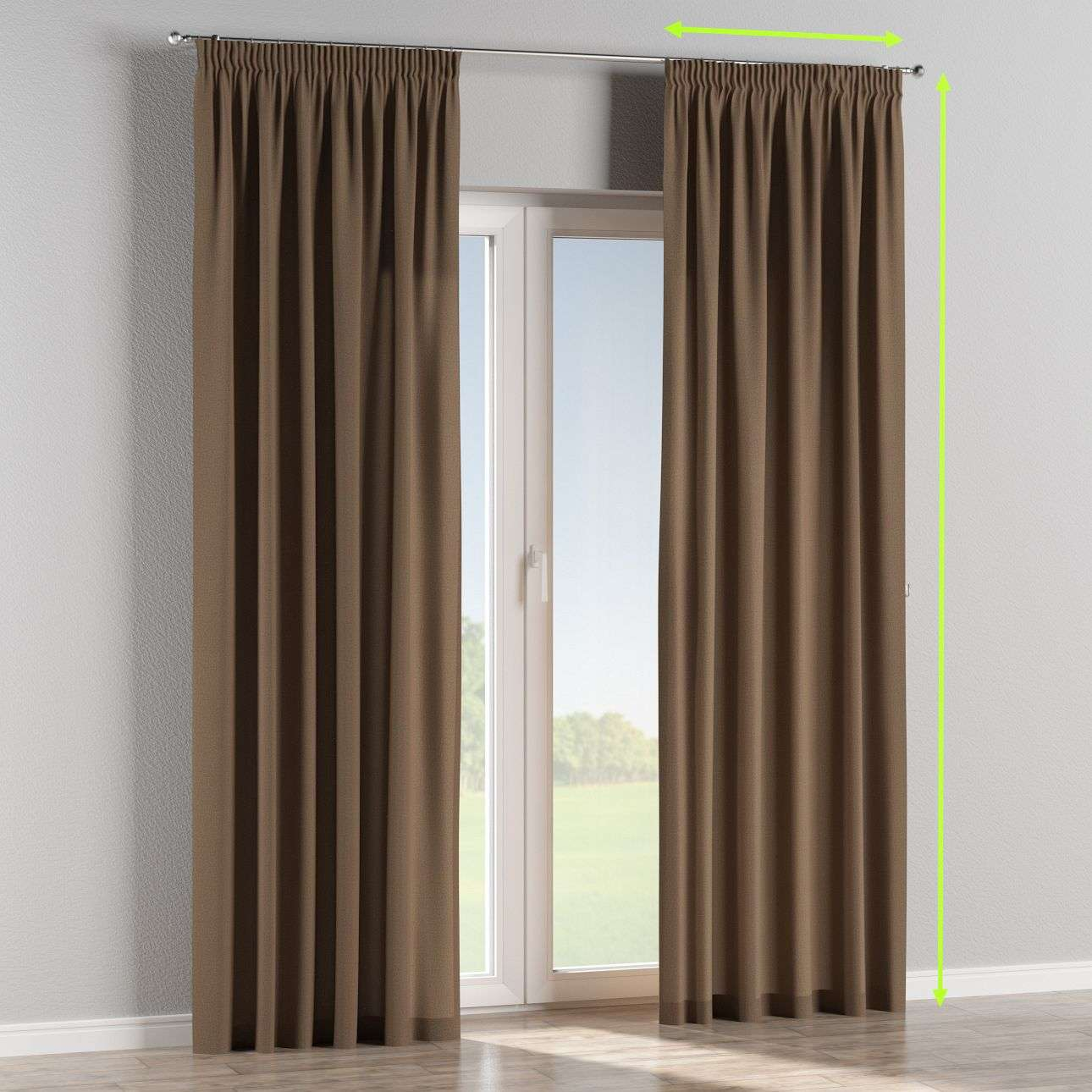 Pencil pleat lined curtains in collection Edinburgh, fabric: 115-85