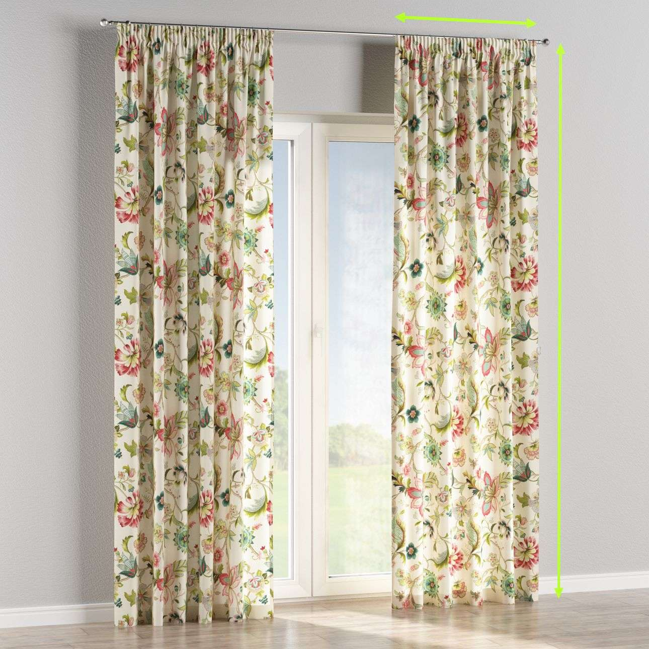 Pencil pleat lined curtains in collection Londres, fabric: 122-00