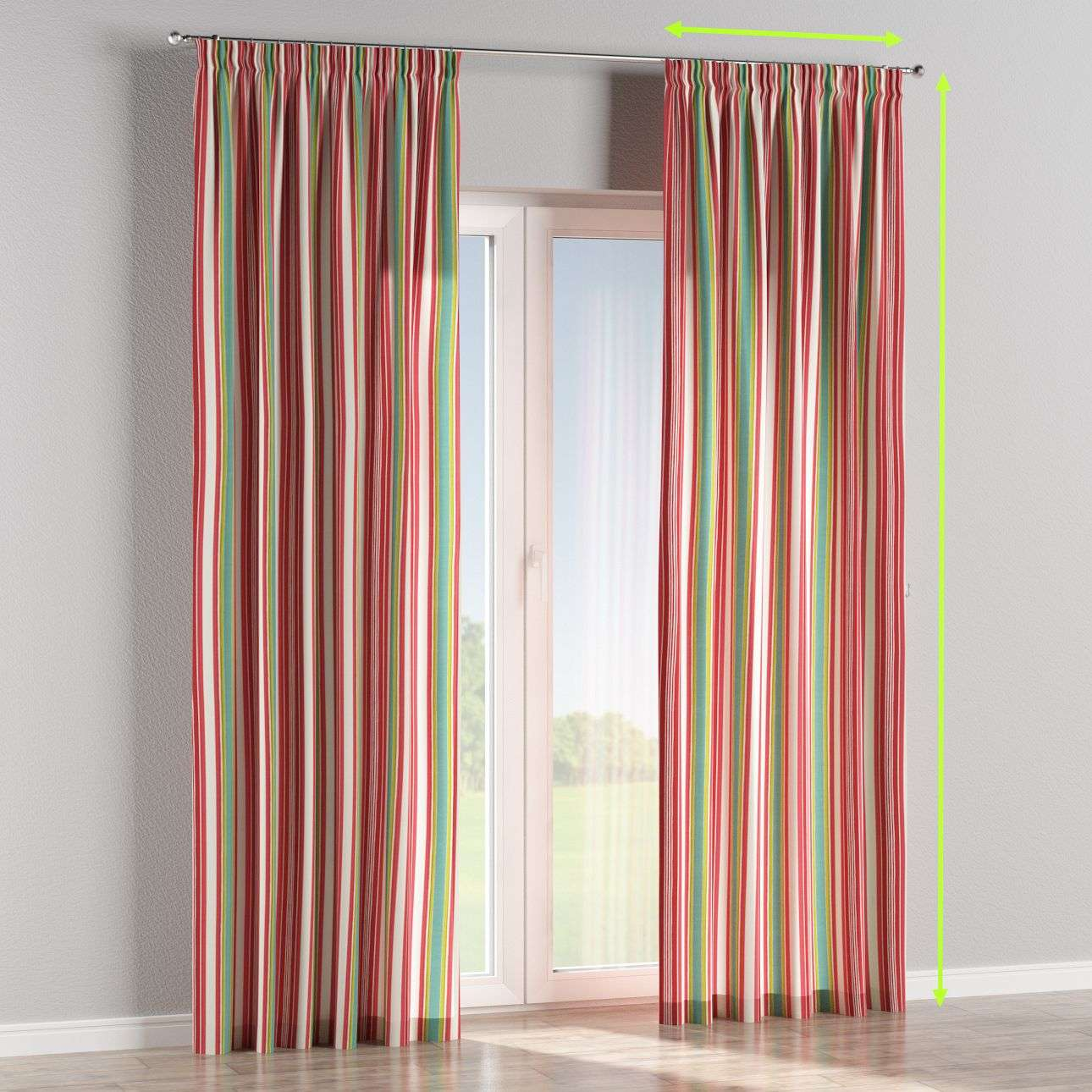 Pencil pleat lined curtains in collection Londres, fabric: 122-01