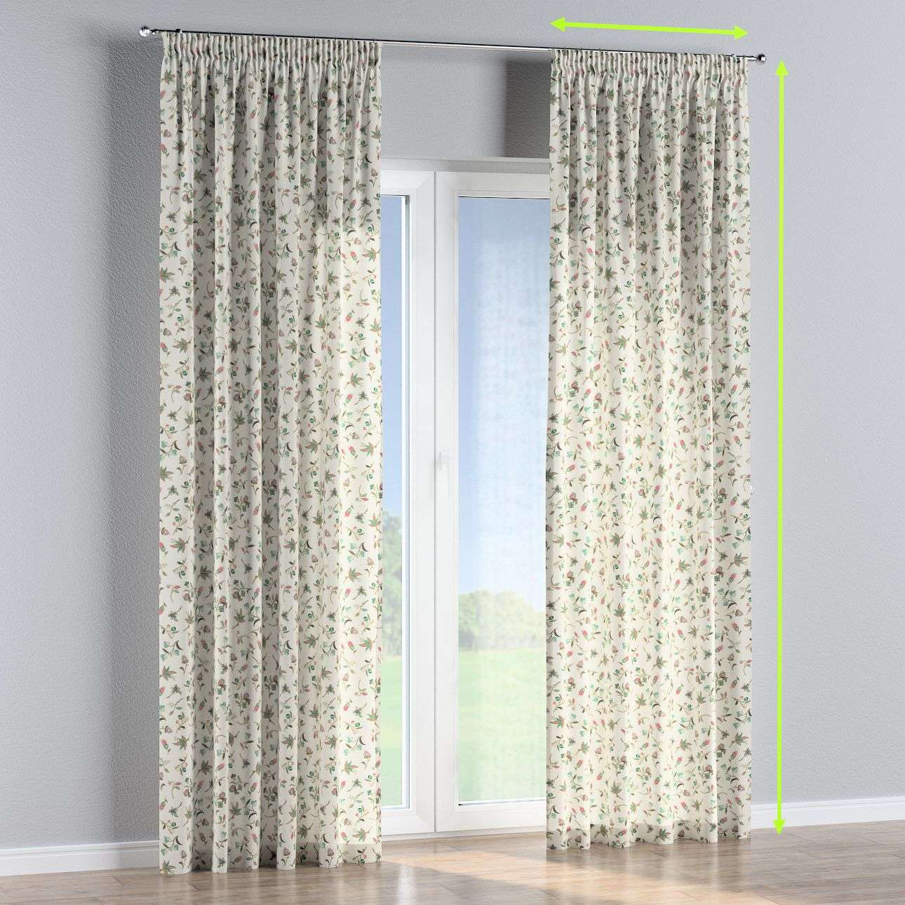 Pencil pleat lined curtains in collection Londres, fabric: 122-02