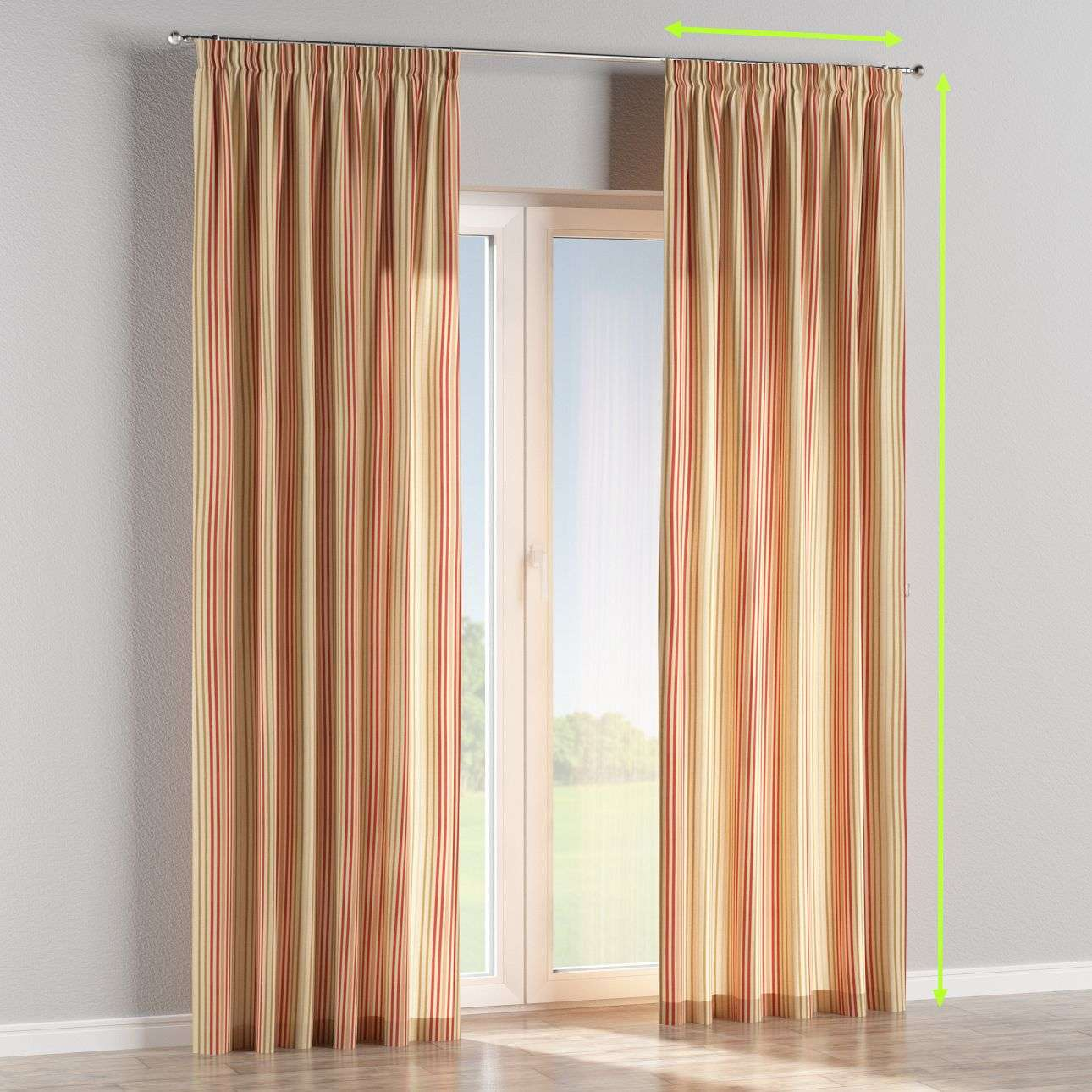 Pencil pleat lined curtains in collection Londres, fabric: 122-05