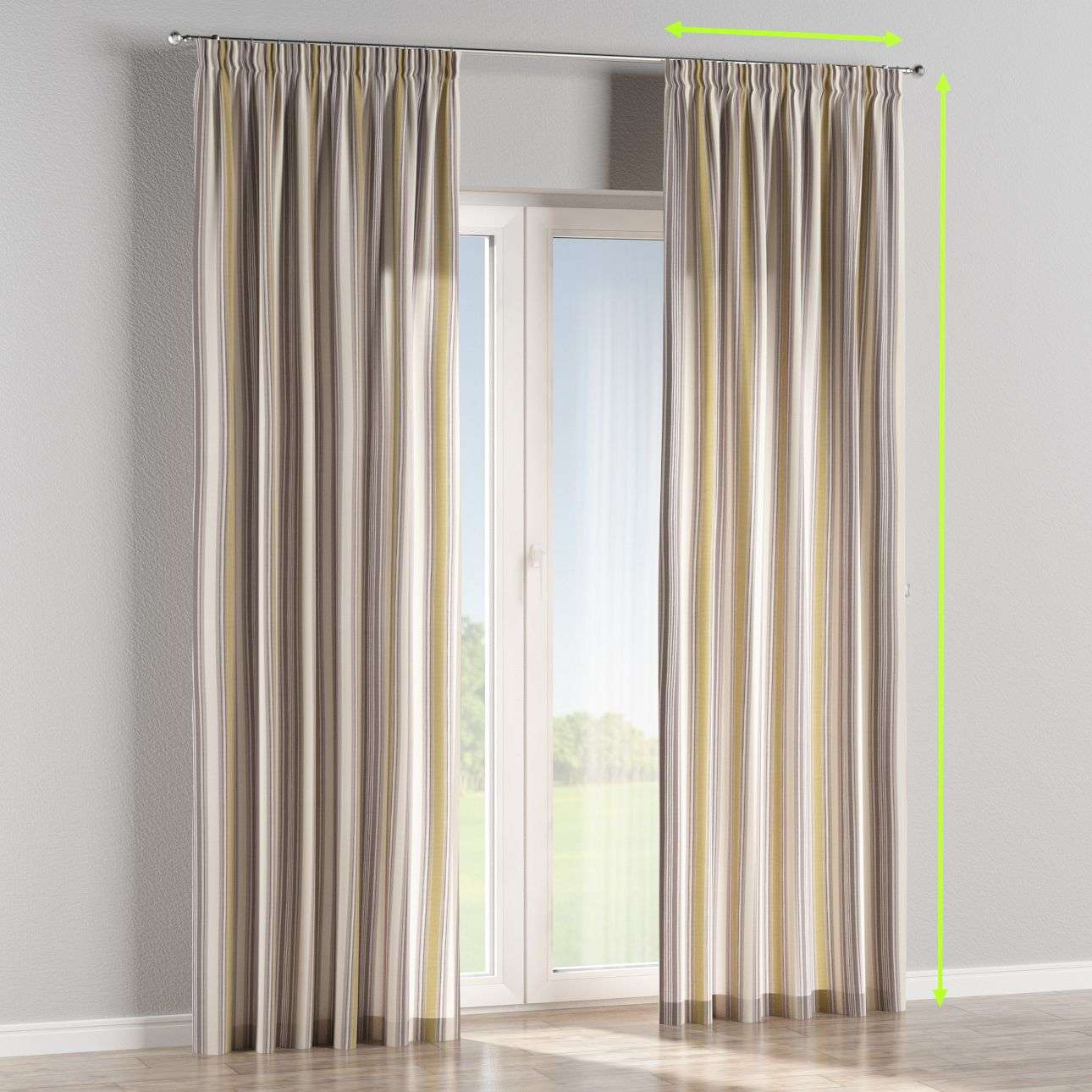 Pencil pleat lined curtains in collection Londres, fabric: 122-06