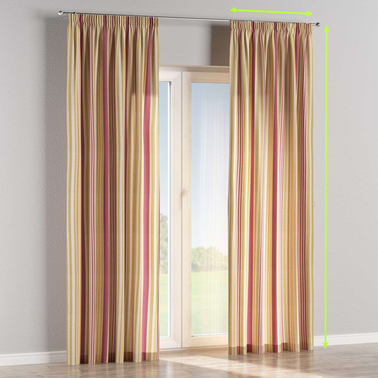 Pencil pleat lined curtains in collection Londres, fabric: 122-09