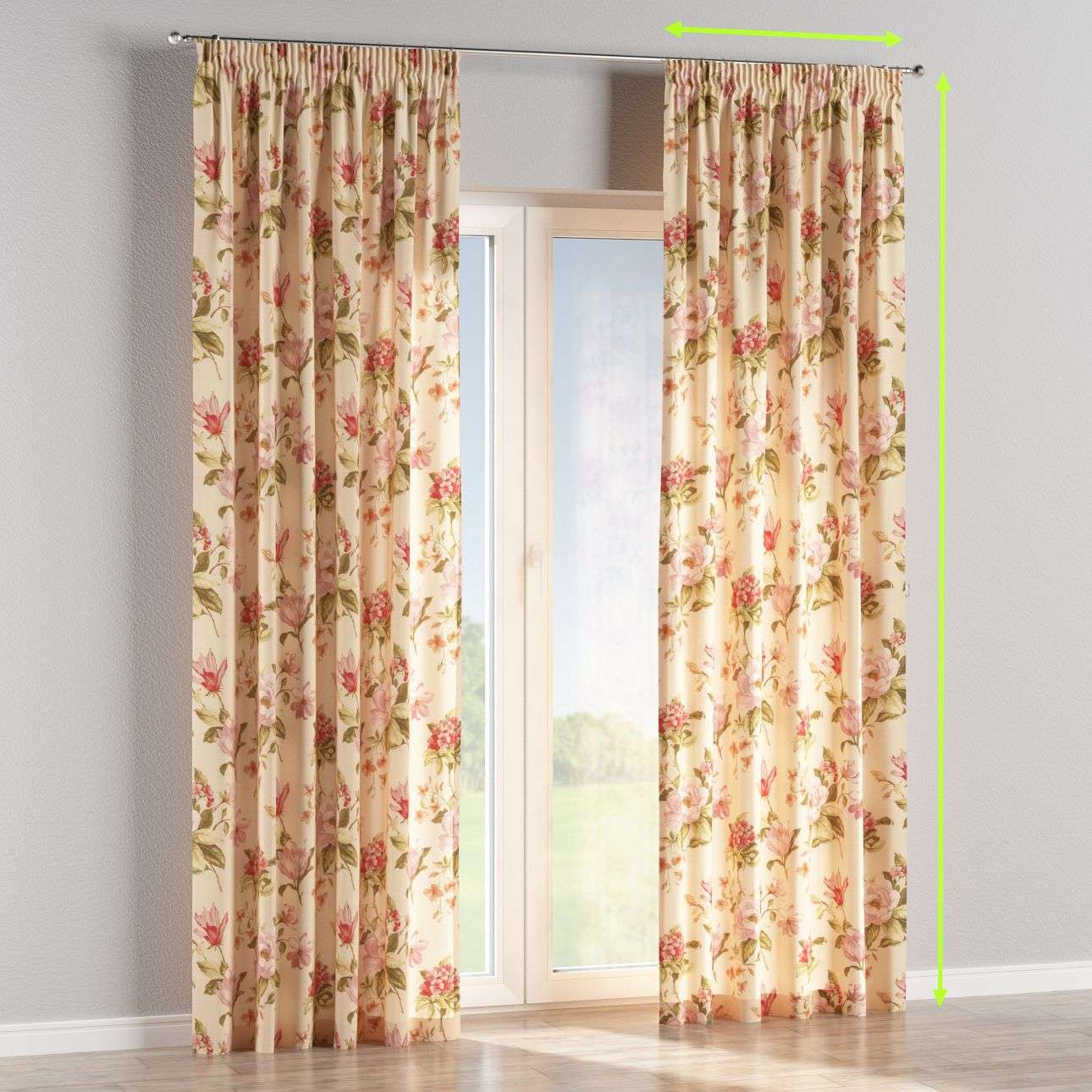 Pencil pleat lined curtains in collection Londres, fabric: 123-05
