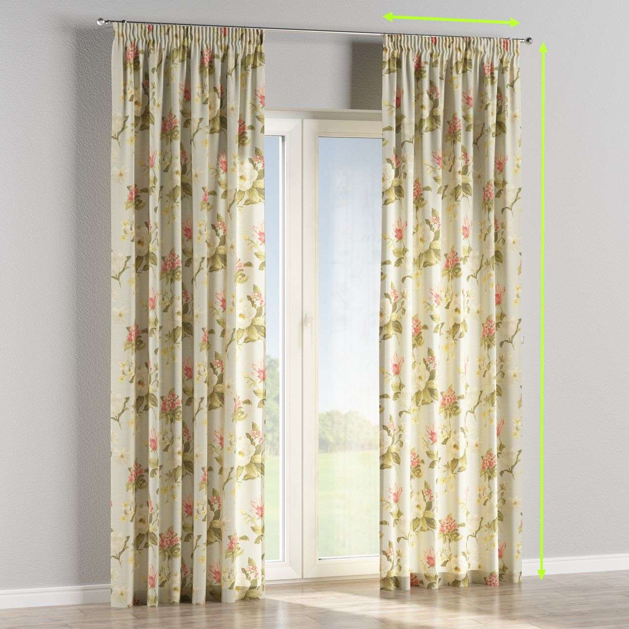 Pencil pleat lined curtains in collection Londres, fabric: 123-65