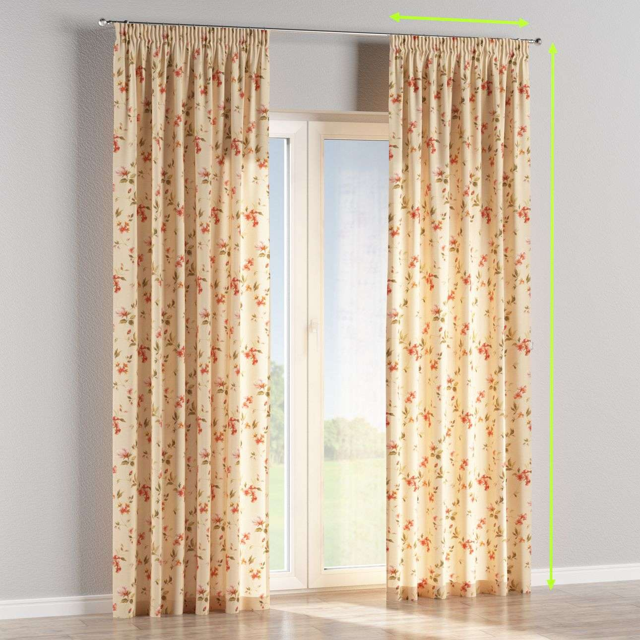 Pencil pleat lined curtains in collection Londres, fabric: 124-05