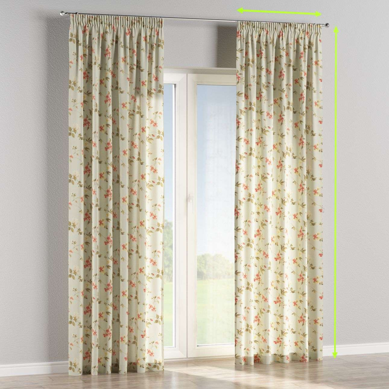 Pencil pleat lined curtains in collection Londres, fabric: 124-65
