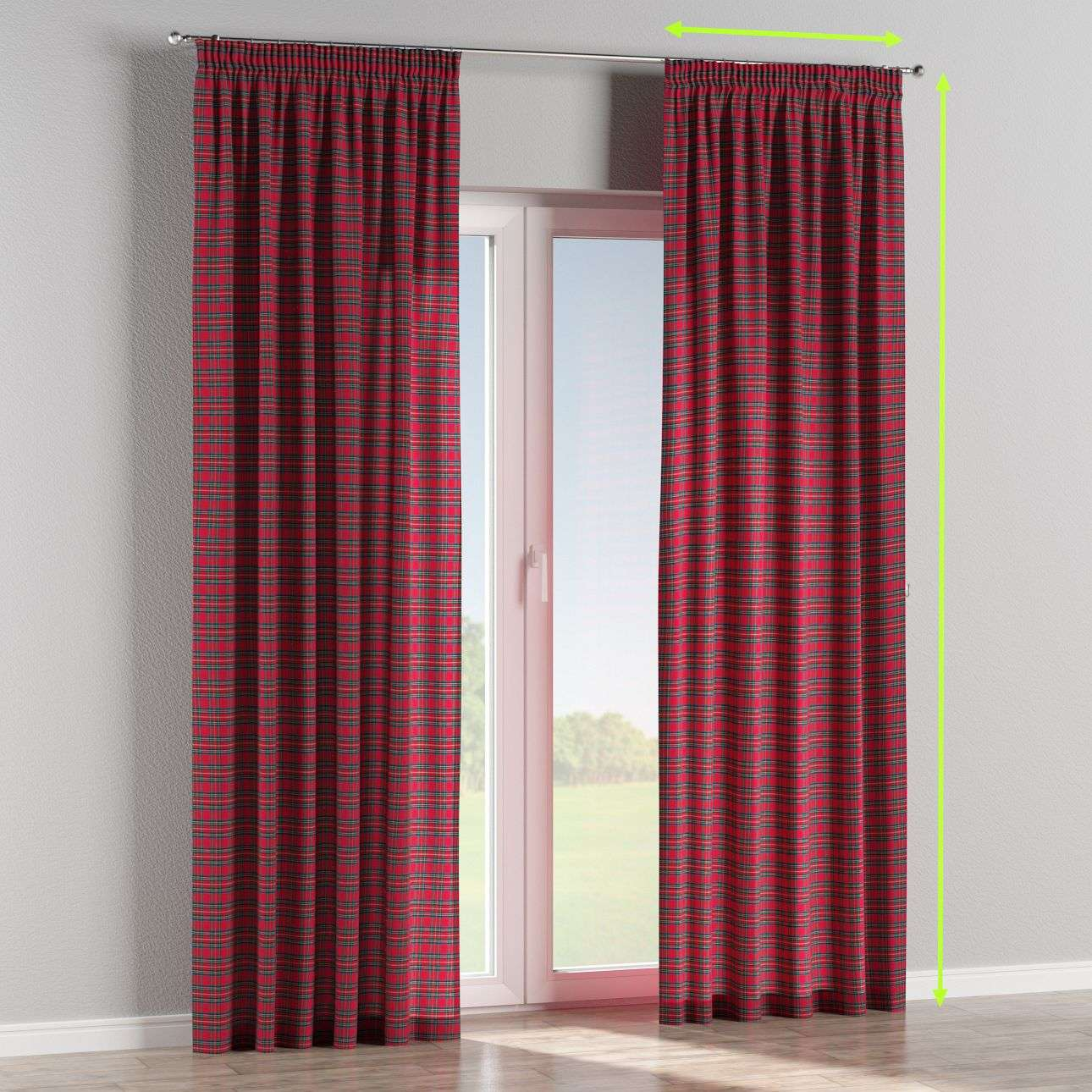 Pencil pleat lined curtains in collection Bristol, fabric: 126-29