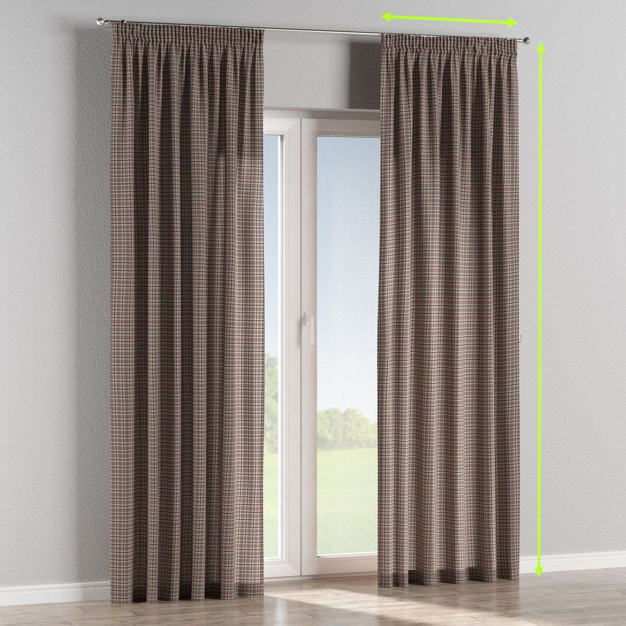 Pencil pleat lined curtains in collection Bristol, fabric: 126-32