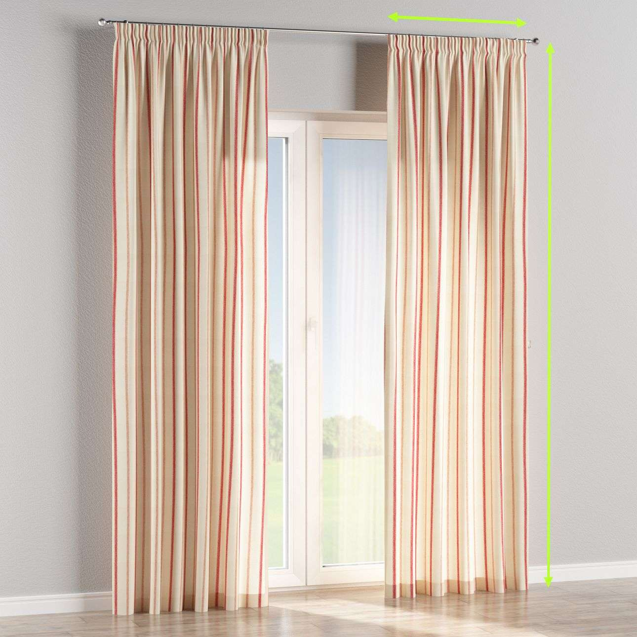Pencil pleat lined curtains in collection Avinon, fabric: 129-15