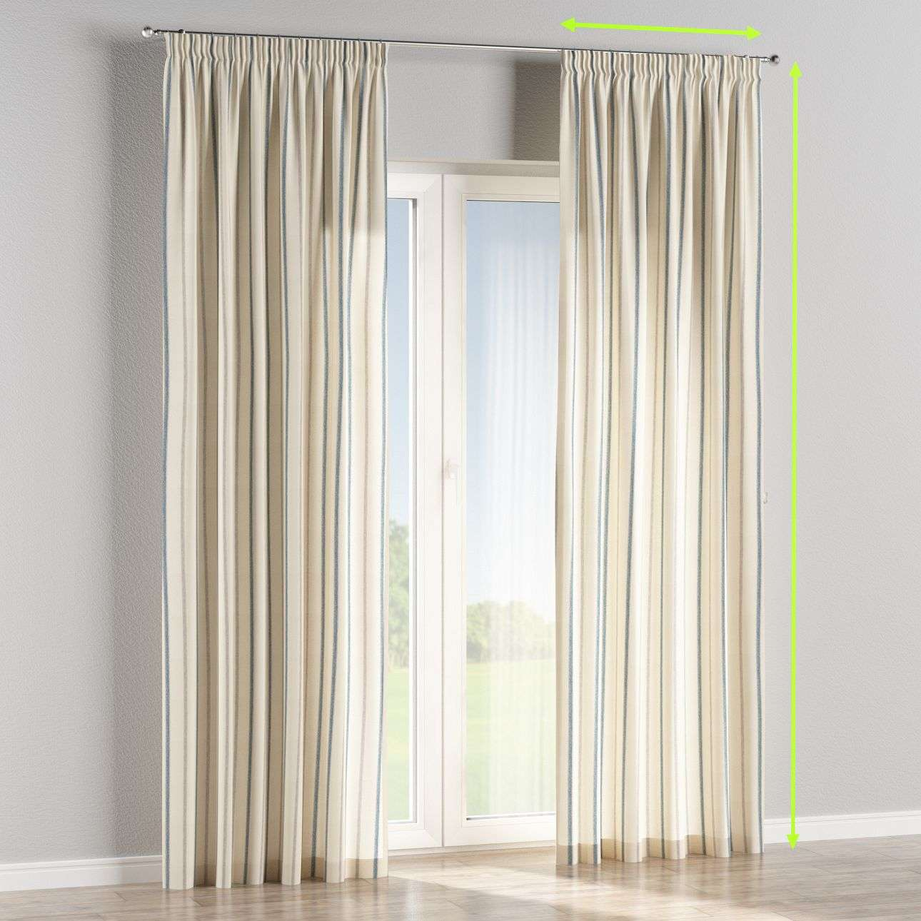 Pencil pleat lined curtains in collection Avinon, fabric: 129-66