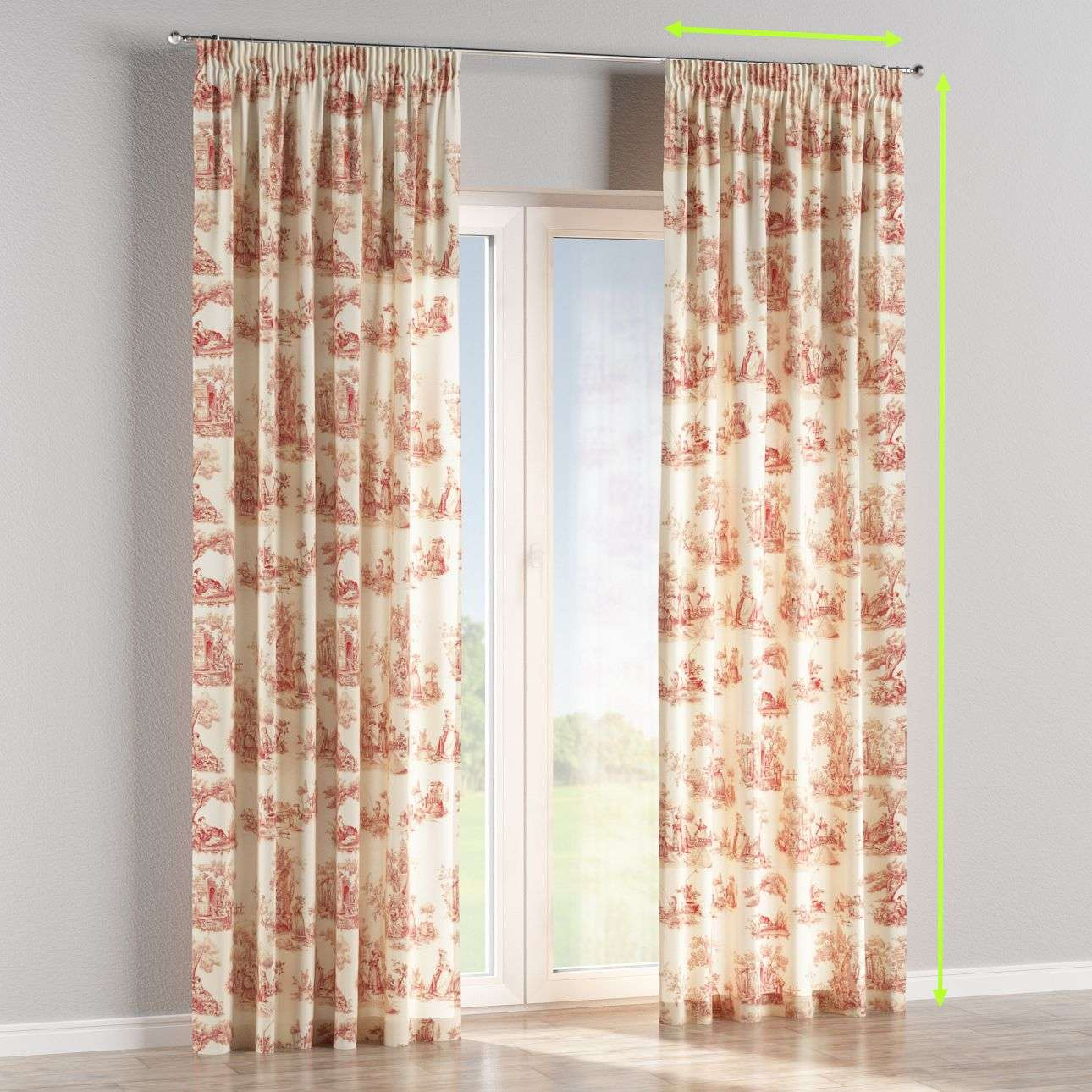 Pencil pleat lined curtains in collection Avinon, fabric: 132-15