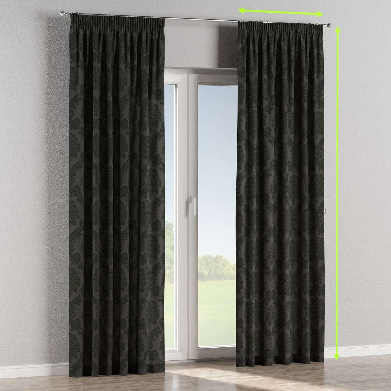 Pencil pleat lined curtains in collection Damasco, fabric: 613-32