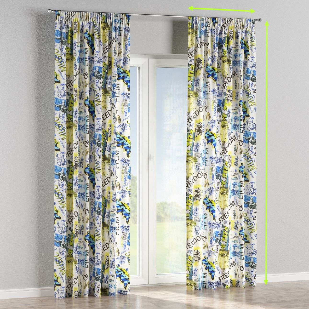 Pencil pleat lined curtains in collection Freestyle, fabric: 135-08