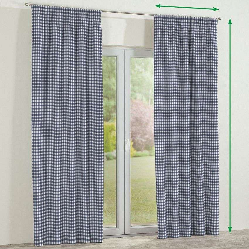 Pencil pleat lined curtains in collection Quadro, fabric: 136-01