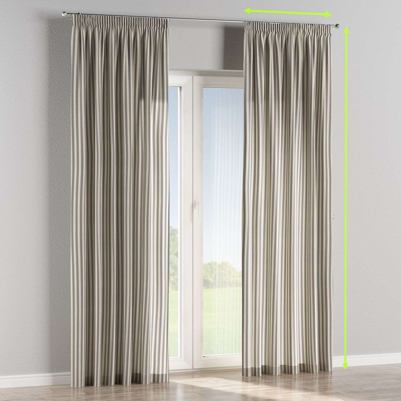 Pencil pleat lined curtains in collection Quadro, fabric: 136-02