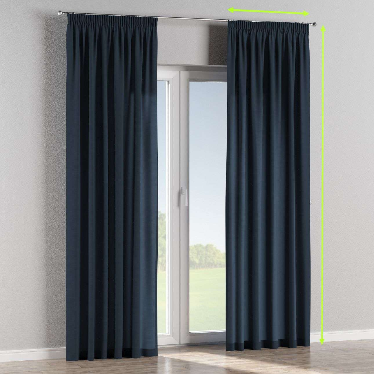 Pencil pleat lined curtains in collection Quadro, fabric: 136-04