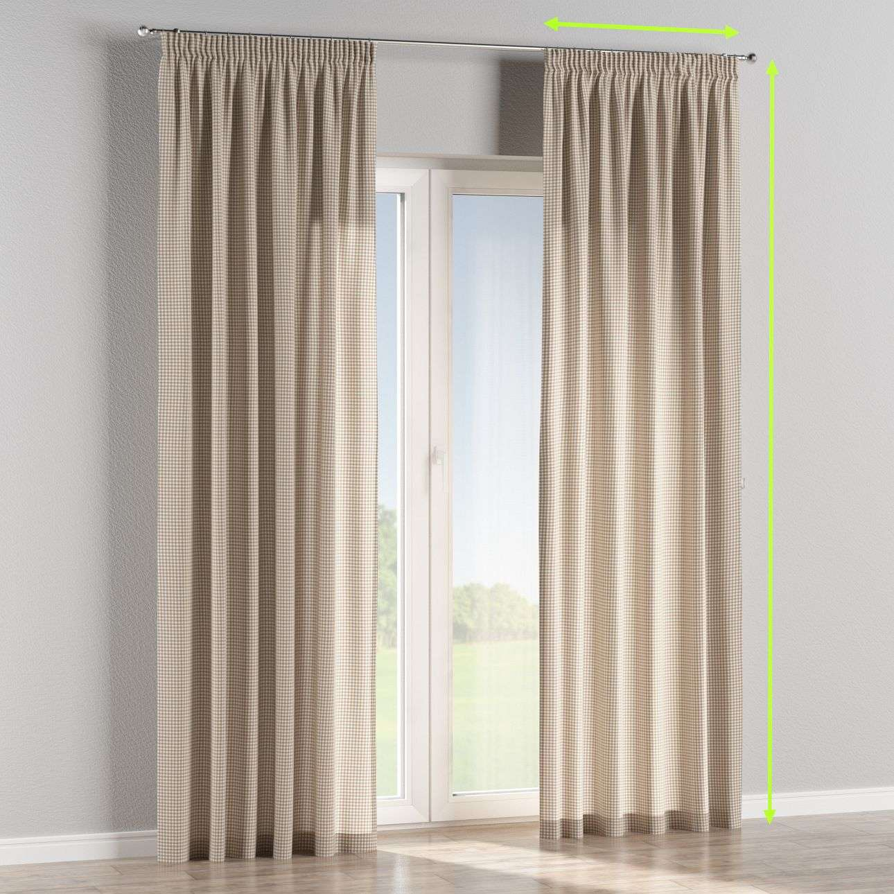 Pencil pleat lined curtains in collection Quadro, fabric: 136-05