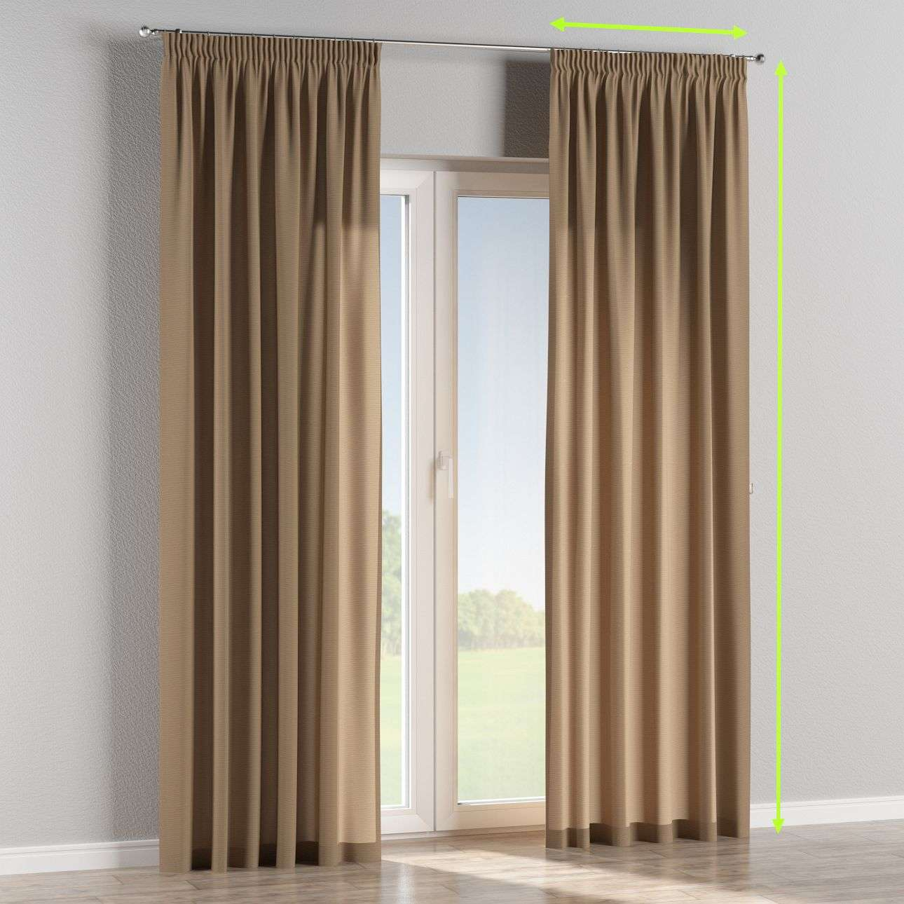 Pencil pleat lined curtains in collection Quadro, fabric: 136-09