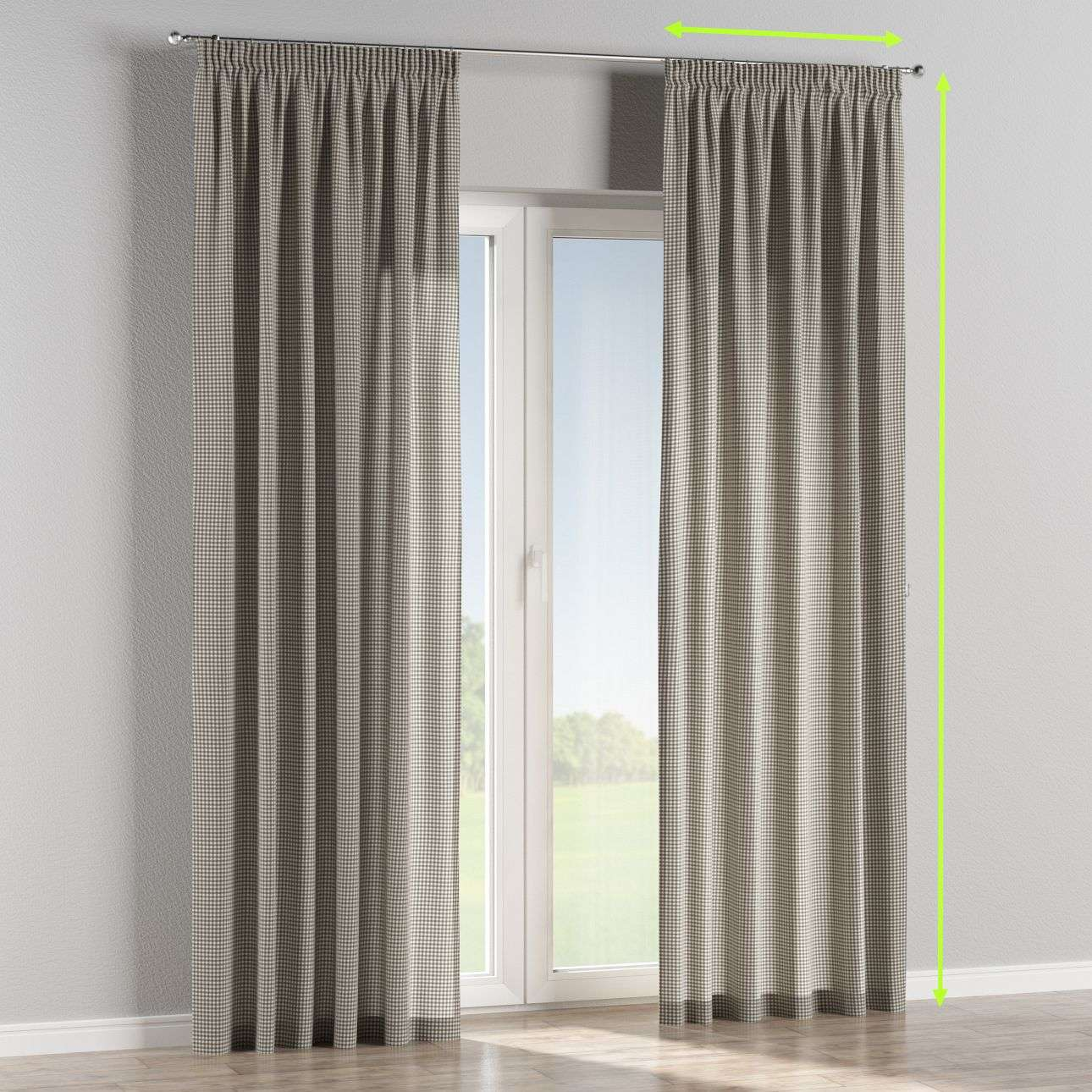 Pencil pleat lined curtains in collection Quadro, fabric: 136-10