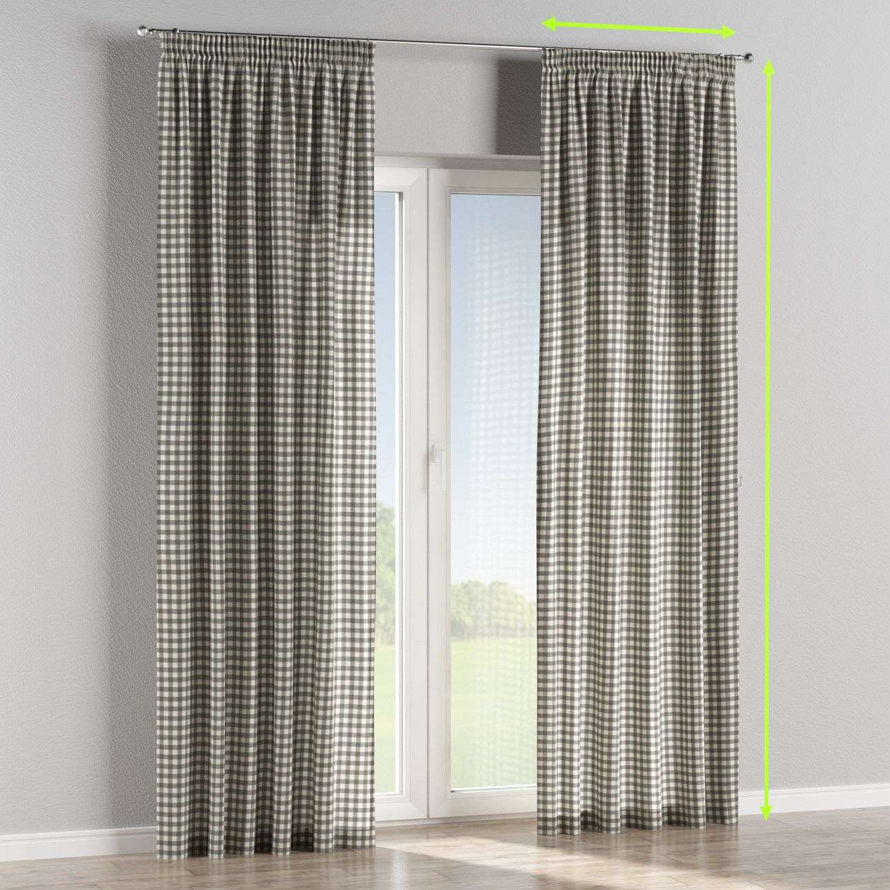 Pencil pleat lined curtains in collection Quadro, fabric: 136-11