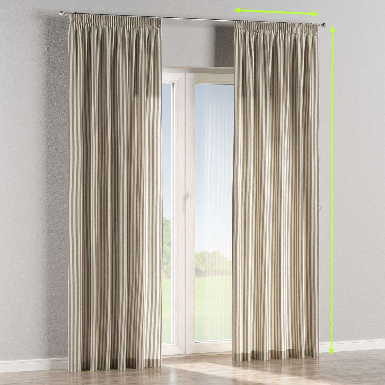Pencil pleat lined curtains in collection Quadro, fabric: 136-12