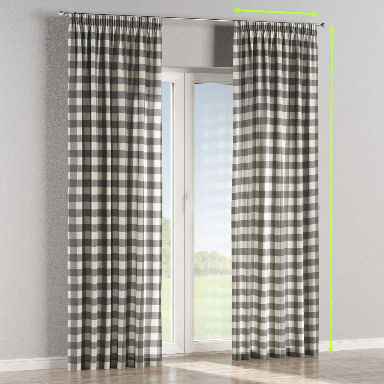 Pencil pleat lined curtains in collection Quadro, fabric: 136-13