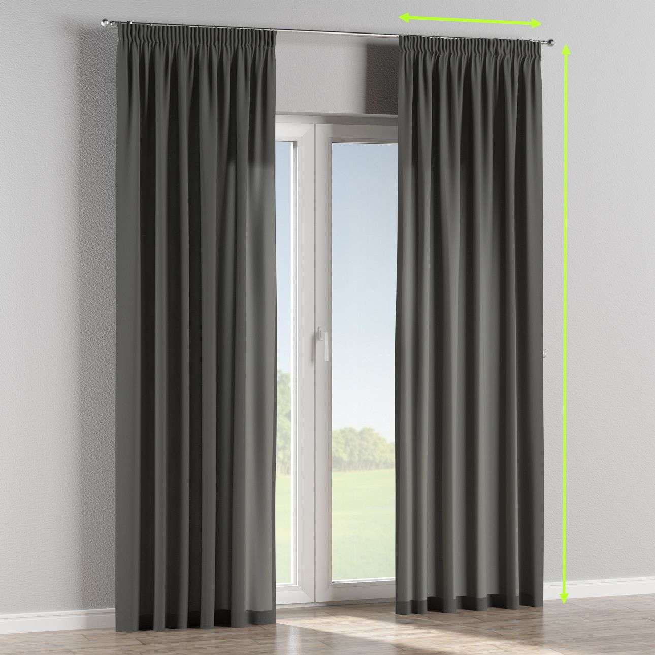 Pencil pleat lined curtains in collection Quadro, fabric: 136-14
