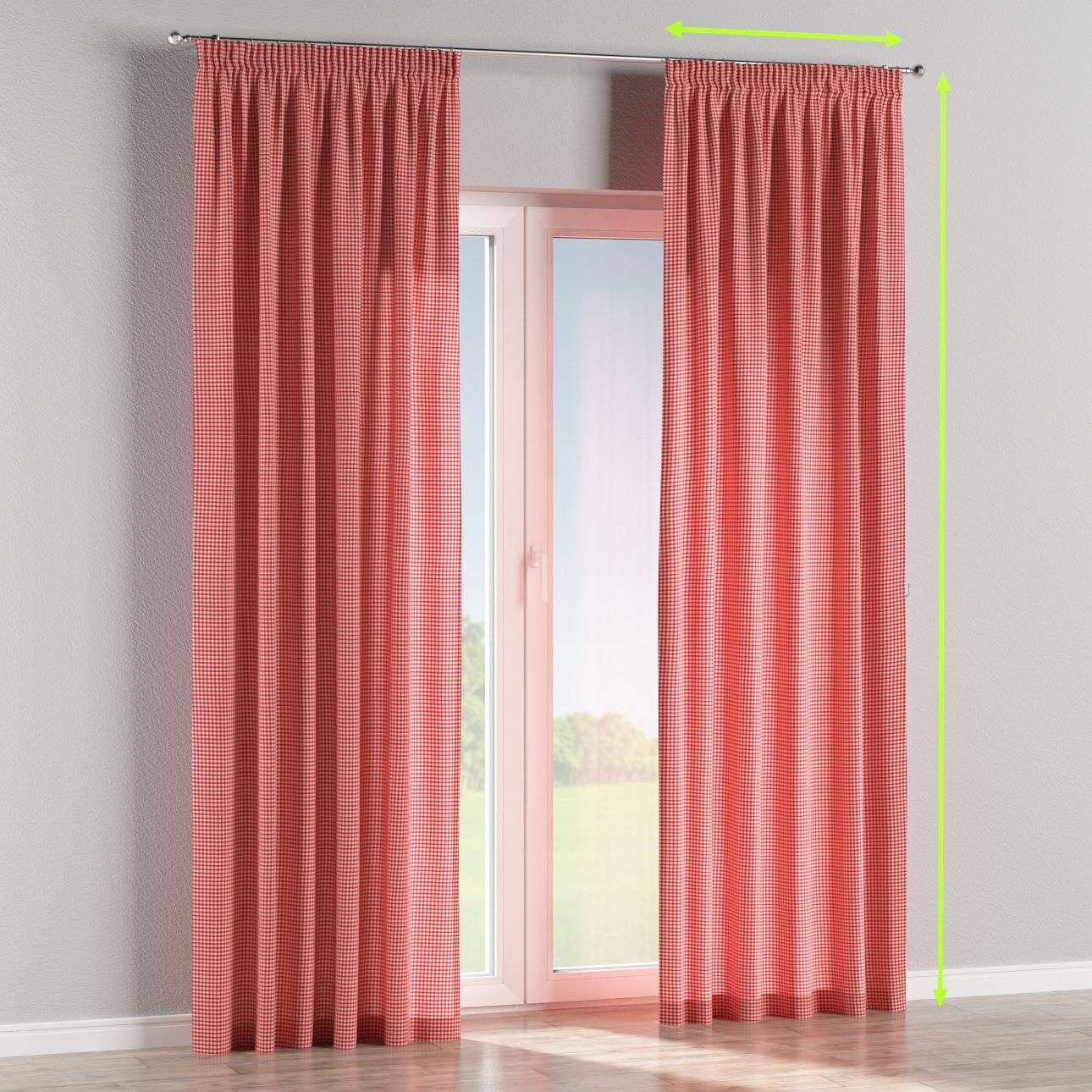 Pencil pleat lined curtains in collection Quadro, fabric: 136-15