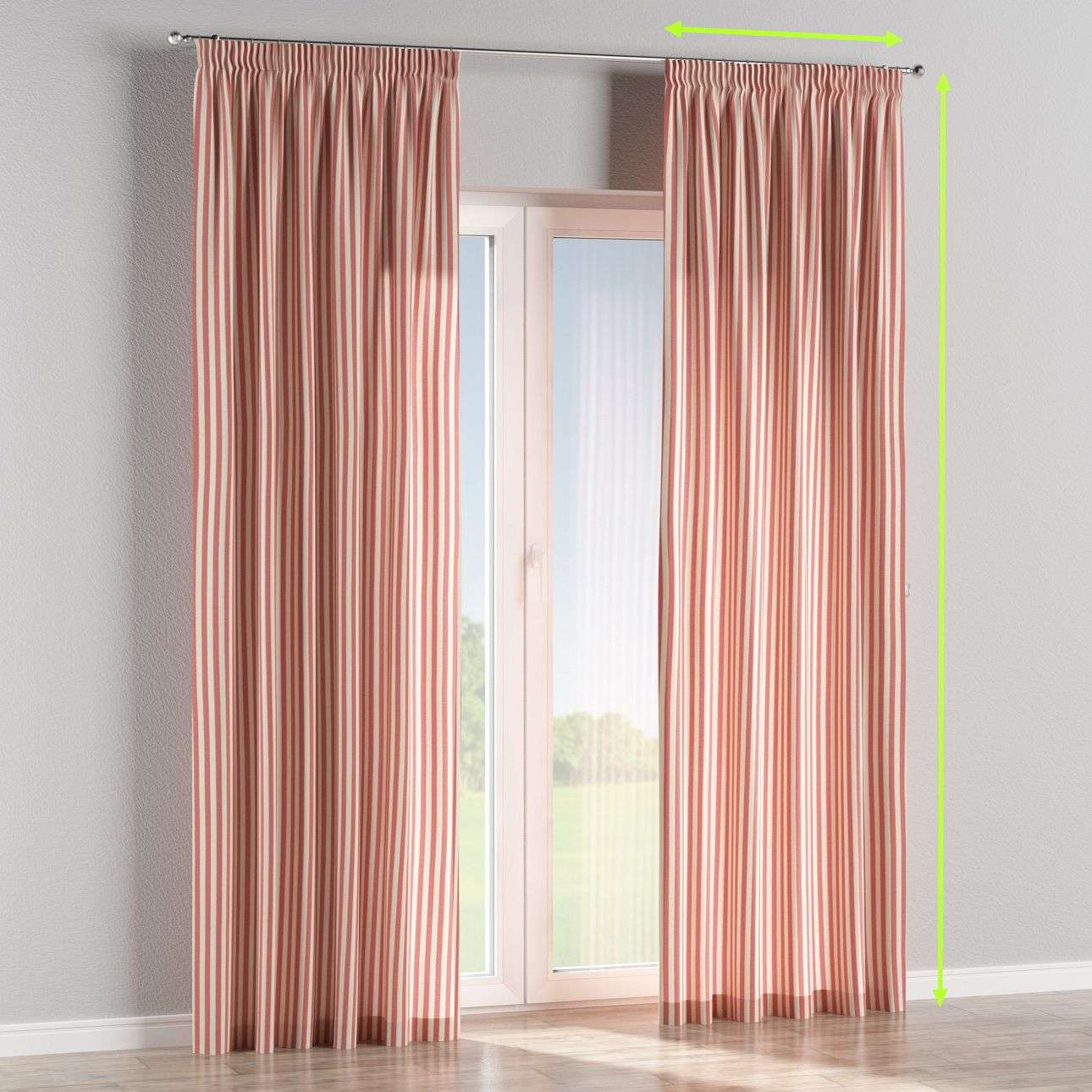 Pencil pleat lined curtains in collection Quadro, fabric: 136-17
