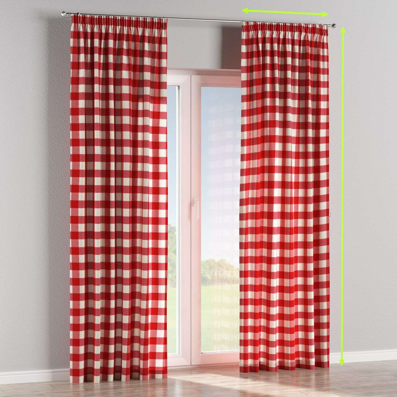Pencil pleat lined curtains in collection Quadro, fabric: 136-18