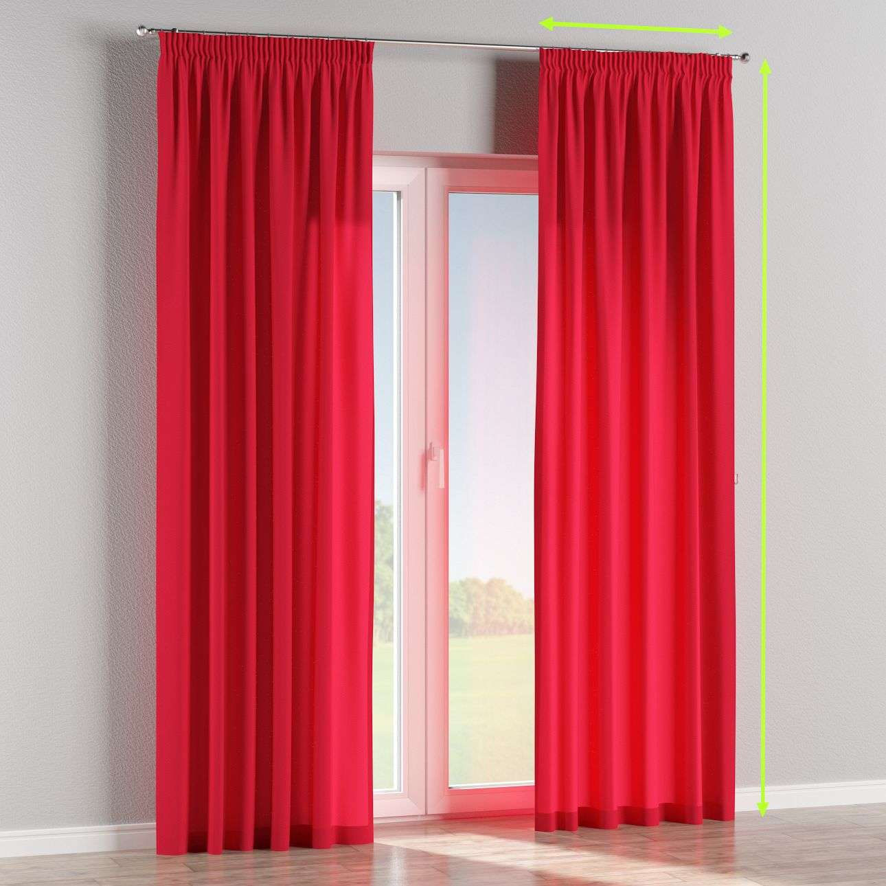 Pencil pleat lined curtains in collection Quadro, fabric: 136-19