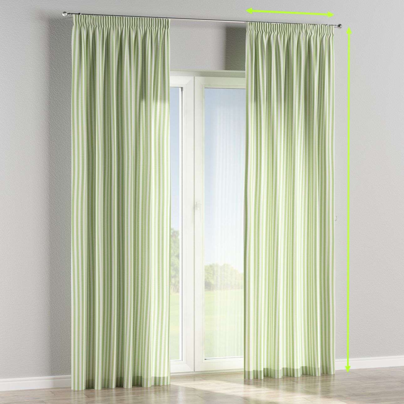 Pencil pleat lined curtains in collection Quadro, fabric: 136-35