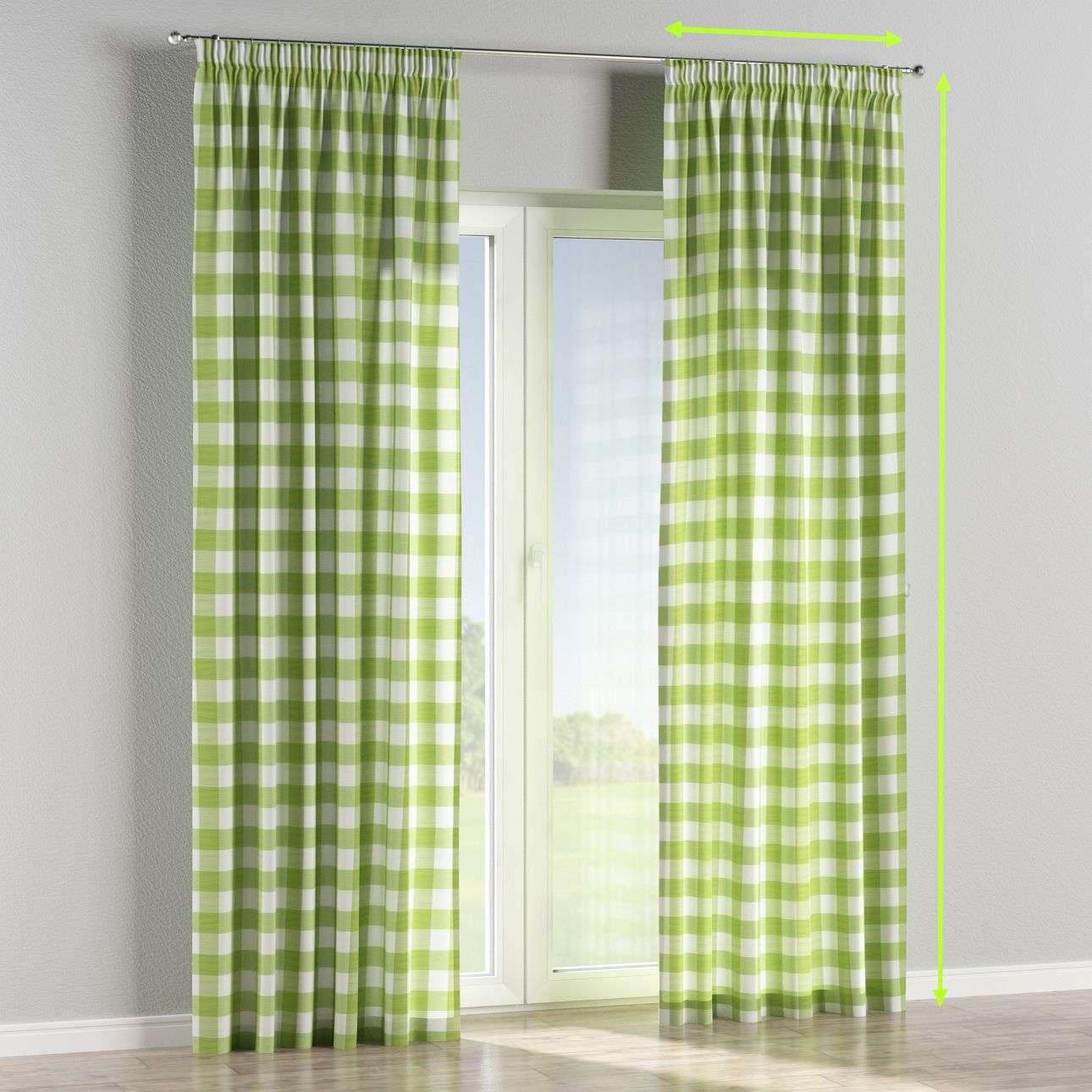 Pencil pleat lined curtains in collection Quadro, fabric: 136-36