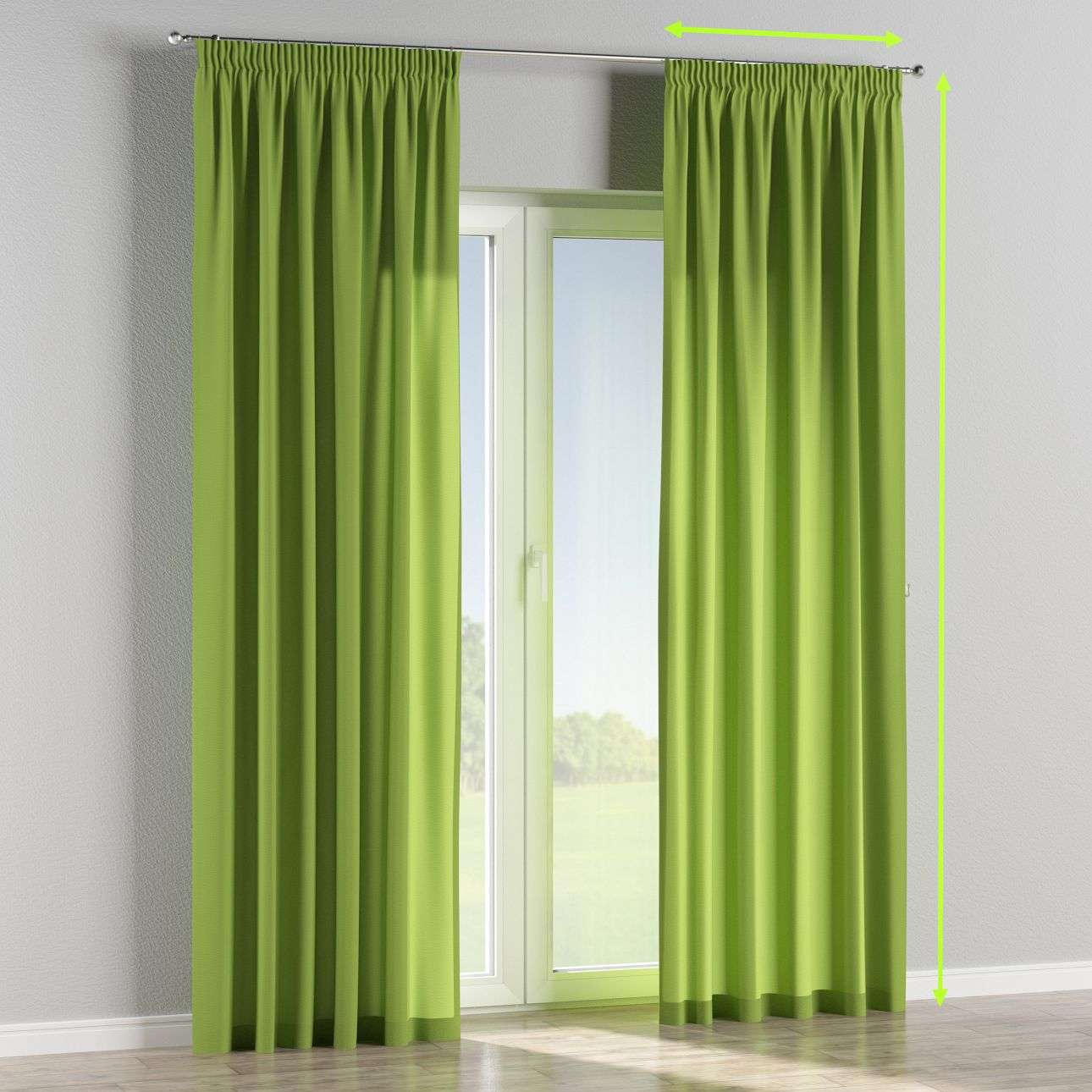 Pencil pleat lined curtains in collection Quadro, fabric: 136-37