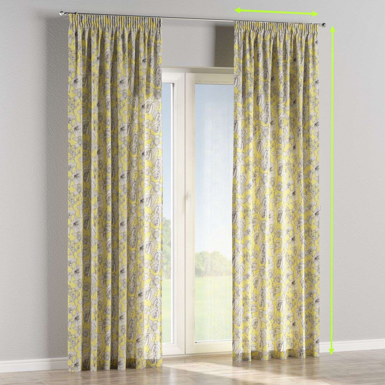 Pencil pleat lined curtains in collection Brooklyn, fabric: 137-78