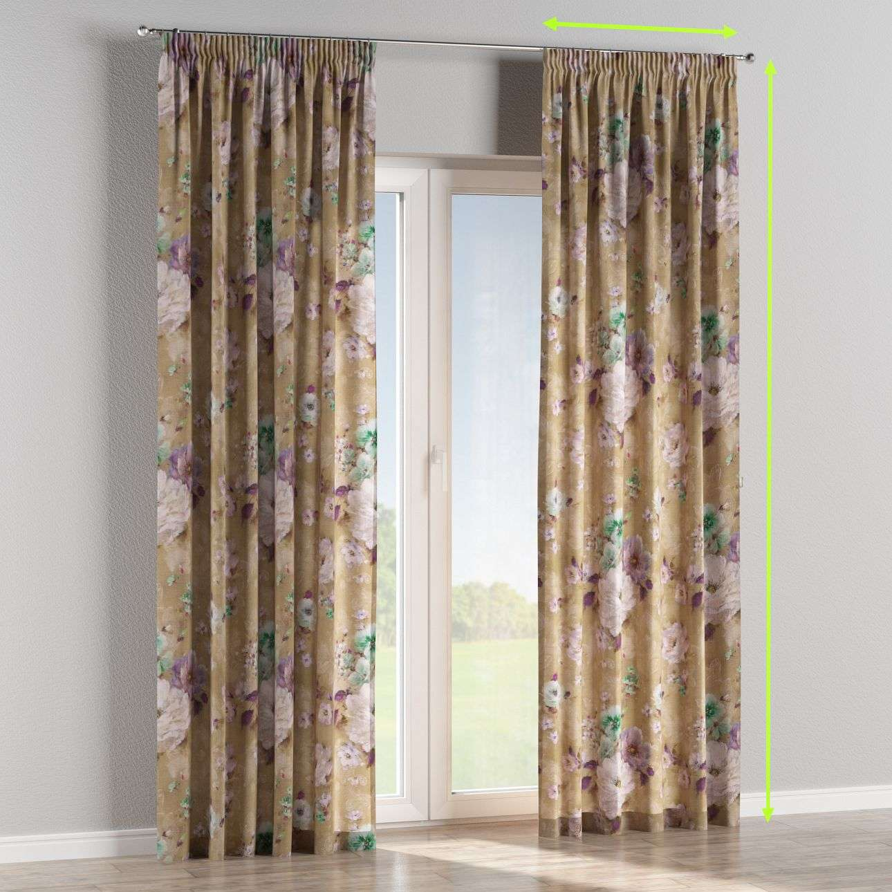 Pencil pleat lined curtains in collection Monet, fabric: 137-82