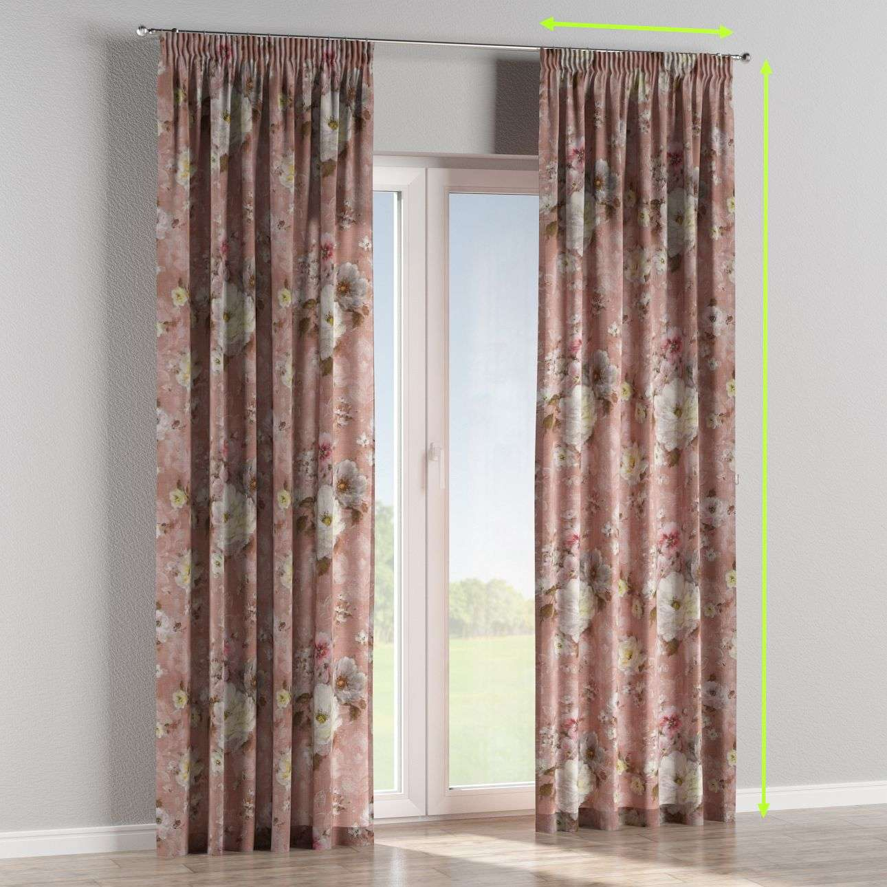Pencil pleat lined curtains in collection Monet, fabric: 137-83