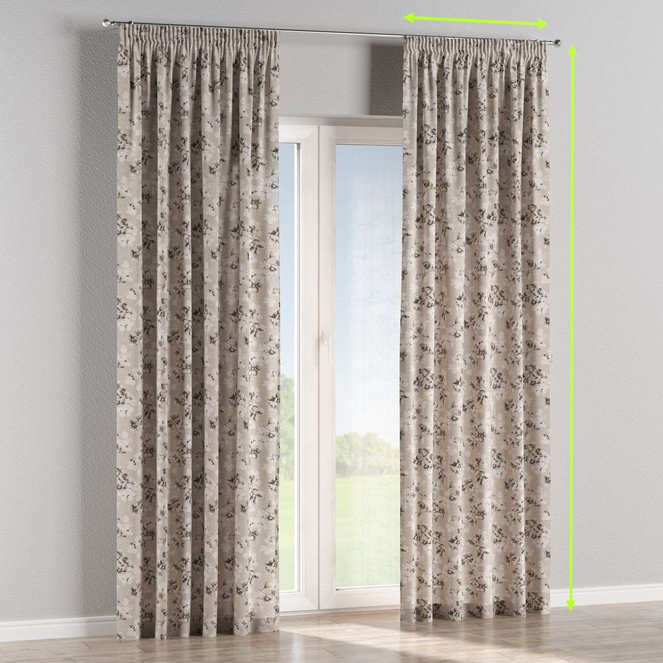 Pencil pleat lined curtains in collection Rustica, fabric: 138-14