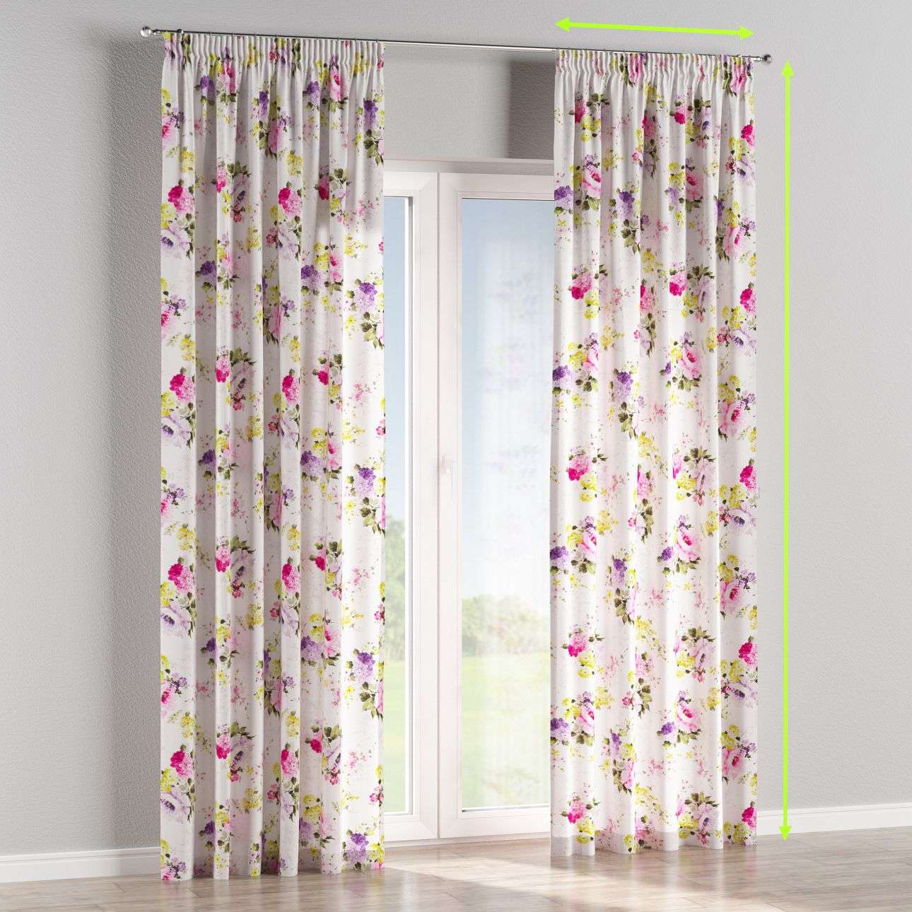 Pencil pleat lined curtains in collection Monet, fabric: 140-00