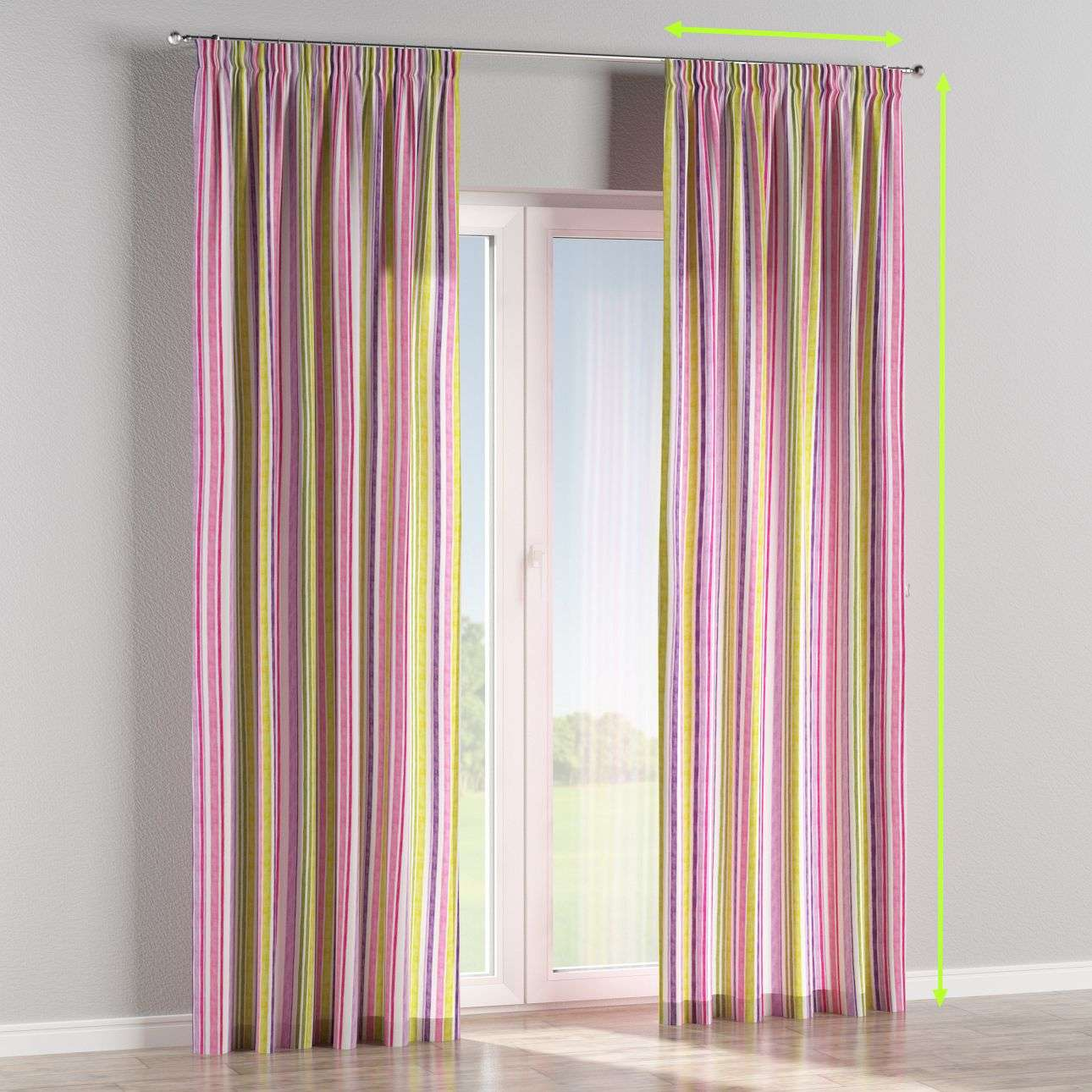 Pencil pleat lined curtains in collection Monet, fabric: 140-01