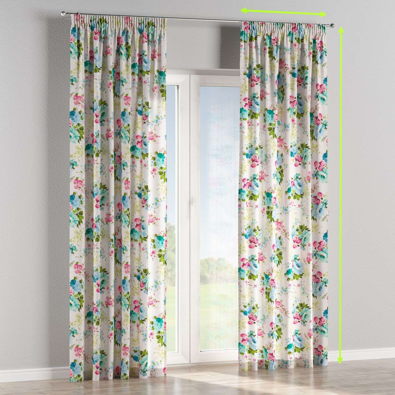 Pencil pleat lined curtains in collection Monet, fabric: 140-02