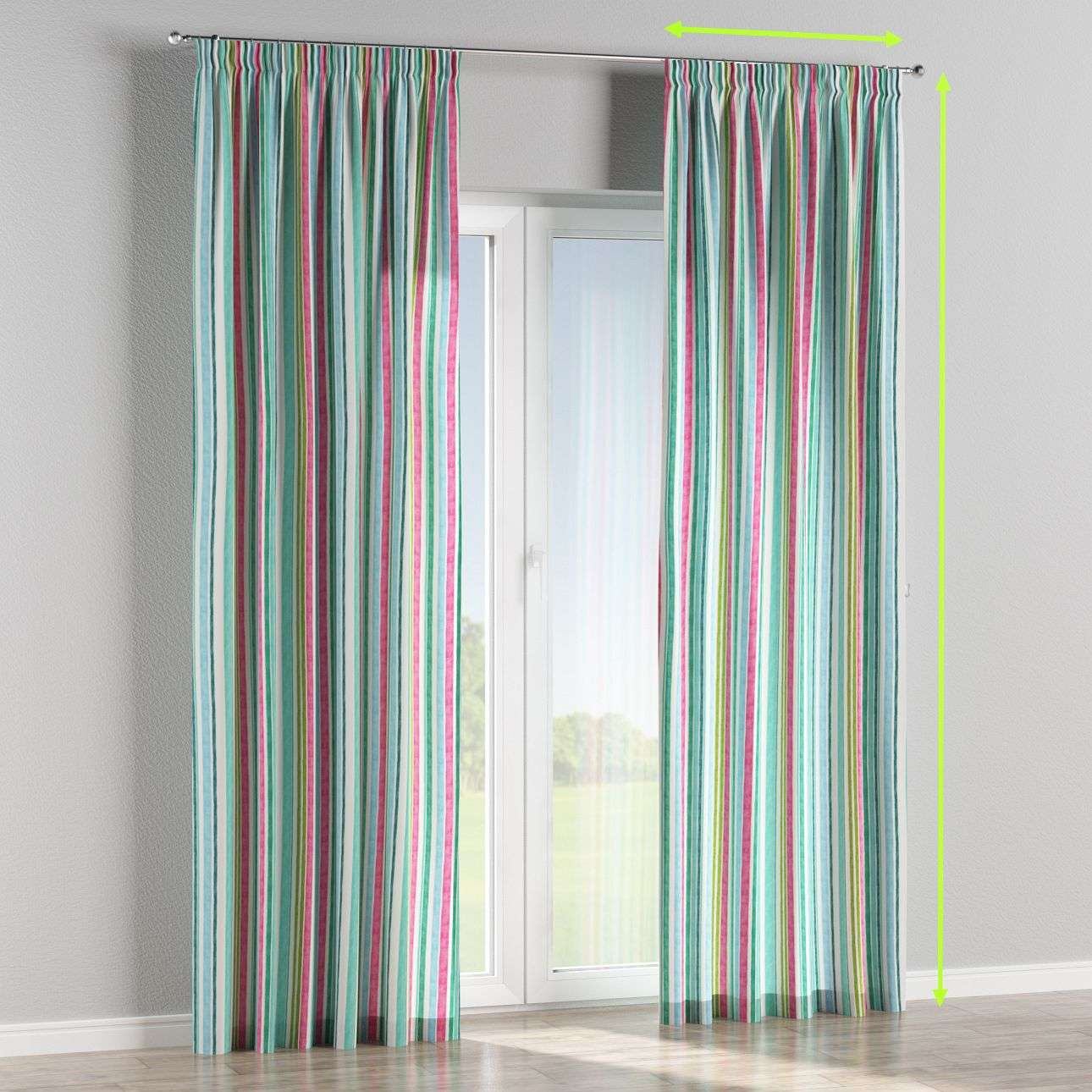 Pencil pleat lined curtains in collection Monet, fabric: 140-03